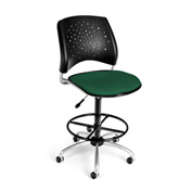 OFM Fabric Swivel Stool with Drafting Kit (Footstool) - Stars Pattern - Forest Green