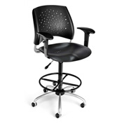 OFM Plastic Swivel Stool with Arms & Drafting Kit (Footstool) - Stars Pattern - Black