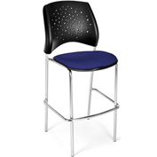 OFM Cafe Height Chair - Fabric - Star Pattern - Chrome Base - Royal Blue - Pkg Qty 2