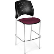 OFM Cafe Height Chair - Fabric - Star Pattern - Chrome Base - Burgundy - Pkg Qty 2