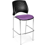 OFM Cafe Height Chair - Fabric - Star Pattern - Chrome Base - Plum - Pkg Qty 2