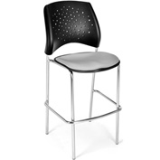 OFM Cafe Height Chair - Fabric - Star Pattern - Chrome Base - Putty - Pkg Qty 2