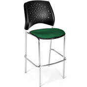 OFM Cafe Height Chair - Fabric - Star Pattern - Chrome Base - Forest Green - Pkg Qty 2