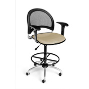 OFM Fabric Swivel Stool with Arms & Drafting Kit (Footstool) - Moon Pattern - Khaki