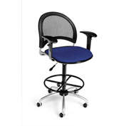 OFM Fabric Swivel Stool with Arms & Drafting Kit (Footstool) - Moon Pattern - Royal Blue