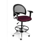 OFM Fabric Swivel Stool with Arms & Drafting Kit (Footstool) - Moon Pattern - Burgundy