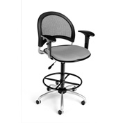 OFM Fabric Swivel Stool with Arms & Drafting Kit (Footstool) - Moon Pattern - Putty
