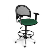 OFM Fabric Swivel Stool with Arms & Drafting Kit (Footstool) - Moon Pattern - Forest Green