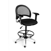 OFM Fabric Swivel Stool with Arms & Drafting Kit (Footstool) - Moon Pattern - Black