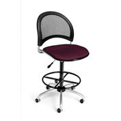 OFM Fabric Swivel Stool with Drafting Kit (Footstool) - Moon Pattern - Burgundy