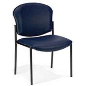 Anti-Microbial Vinyl Upholstered Armless Stacking Chair - Navy