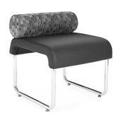 OFM Guest Chair with Pillow Seat Back - Polyurethane - Black- Uno Series