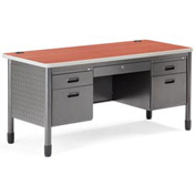 OFM Mesa Series Model 66360 5-Drawer Double Pedestal Teacher's Desk, Cherry