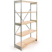 "Excalibur Stockroom Shelving, SD6184884, 48""W X 18""D X 84""H, Galvanized/Pine, 6-Shelf-Starter"