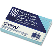 "Oxford® Rule Index Cards 7421BLU, 4"" x 6"", Blue, 100/Pack"