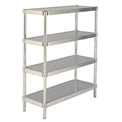 "PVI NS2036Y Aluminum Shelf, 400lbs Capacity, Yellow, 36"" x 20"" x 2-1/8"""