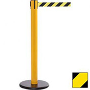 Yellow Post Safety Barrier, 16 Ft., Yellow/Black Diagonal Stripe Belt