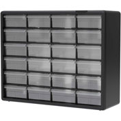 "Akro-Mils Plastic Drawer Parts Cabinet 10124 - 20""W x 6-3/8""D x 15-13/16""H, Black, 24 Drawers"