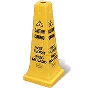 "Rubbermaid® 6277-77 4-Sided Multi-Lingual Caution/Wet Floor Safety Cone 25-5/8""H"