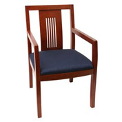 Preston Transitional Wood Back Side Chair - Cherry/Blue