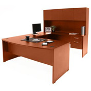 Bow Front U-Shaped Desk w/ Hutch - Cherry