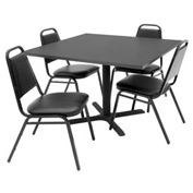 """42"""" Square Table with Vinyl Chairs - Gray Table / Black Chairs"""