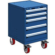"Rousseau Metal 5 Drawer Heavy-Duty Mobile Modular Drawer Cabinet - 24""Wx27""Dx37-1/2""H Avalanche Blue"