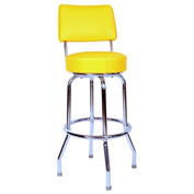 "Richardson Seating Swivel Barstool with Backrest - 30""H - Yellow"
