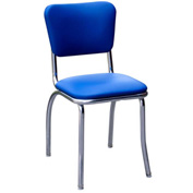 "Royal Blue Retro Chrome Kitchen Chair with 1"" Pulled Seat"