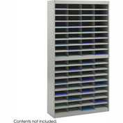 72 Compartment Steel Literature Organizer - Gray