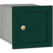Salsbury Cast Aluminum Column Mailbox 4140E-GRN - Recessed Mounted Non- Locking, Eagle Door, Green