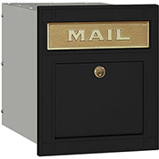 Salsbury Cast Aluminum Column Mailbox 4145P-BLK - Recessed Mounted Locking, Plain Door, Black