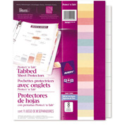 "Avery® Protect 'n Tab Top Loading Sheet Protector, 8-1/2""W x 11""H, Clear, 8 Tabs/Set"