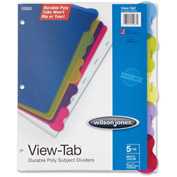 """Wilson Jones® View-Tab Poly Divider without Pockets, 8-1/2""""W x 11""""H, Assorted, 5 Tabs/Set"""