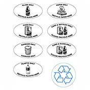 Glass/Cans/Plastic Label for Techstar Recycling Systems