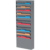 11 Pockets - Medical Chart Hanging Wall File Holder - Gray