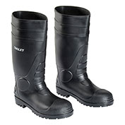 Tingley® 31151 Economy PVC Knee Boots, Black, Plain Toe, Cleated Outsole, Size 8