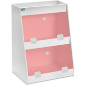 "TrippNT™ White PVC Angled Triple Safety Shelf Station with Red Door, 12""W x 9""D x 16""H"