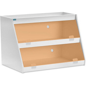 "TrippNT™ White PVC Angled Triple Safety Shelf Station with Orange Door, 24""W x 11""D x 20""H"