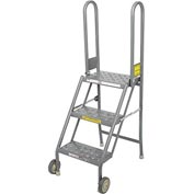 3 Step Folding Rolling Ladder Stand - Perforated Tread