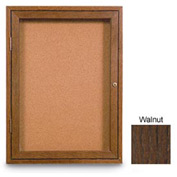 """United Visual Products 18""""W x 24""""H 1-Door Non-Illuminated Corkboard with Walnut Frame"""