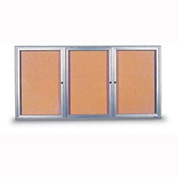 """United Visual Products 96""""W x 48""""H 3-Door Indoor Enclosed Corkboard with Radius Frame"""