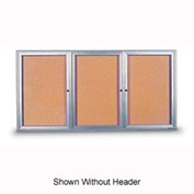 """United Visual Products 72""""W x 36""""H 3-Door Indoor Enclosed Corkboard with Header and Radius Frame"""