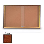 """United Visual Products 60""""W x 36""""H Sliding Door Corkboard with Cherry Frame"""