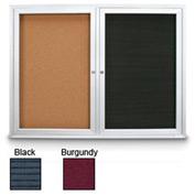 "United Visual 72""W x 36""H Indoor Combo Board w/Black Felt Letterboard & Burgundy Fabric Corkboard"