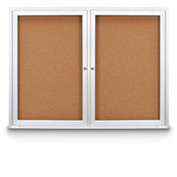 "United Visual Products 72""W x 36""H Indoor Combo Board w/Two Corkboards"