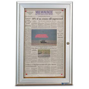 "United Visual Products 19""W x 28""H Restroom Board with Satin Aluminum Radius Frame"