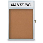 """United Visual Products 42""""W x 32""""H Slim Style Radius Framed Corkboard with Header and Satin Frame"""