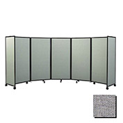 Portable Mobile Room Divider, 6'x14' Fabric, Cloud Gray