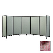 "Portable Mobile Room Divider, 7'6""x19'6"" Fabric, Wine"